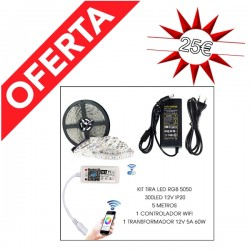 Kit tira LED 5M 5050 RGB IP20 + mando WIFI + transformador 12V 5A 60W